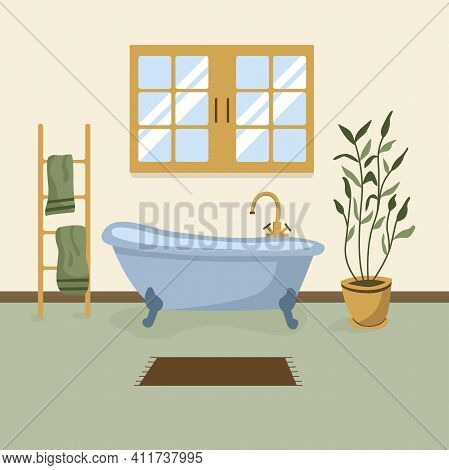 Bathroom With Furniture Vector Illustration. Bathroom Interior In Flat