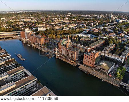 Duisburg City In Germany. Inner Harbor (innenhafen). Former Industrial Architecture.