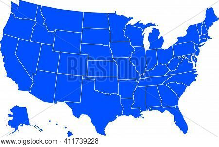 Blue Colored United States Of America Map. Political Usa Map. Vector Illustration Map.
