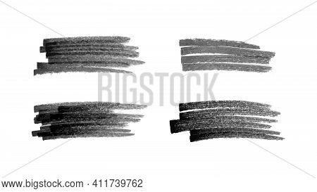Scribble With A Black Marker. Set Of Four Doodle Style Various Scribbles. Black Hand Drawn Design El