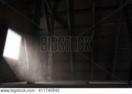 3d Rendering Of Brighten Attic With Light Rays At Window