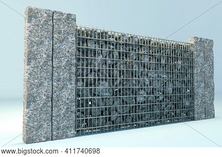 3d Rendering Of Grey Gabione With Gravel Stones And Stone Plates