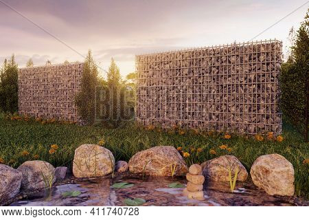 3d Rendering Of Green Garden With Gabion And Pond In The Evening Sunset