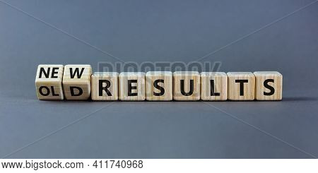 New Vs Old Results Symbol. Turned The Wooden Cube And Changed Words 'old Results' To 'new Results'.