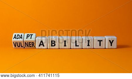 Vulnerability Or Adaptability Symbol. Turned Wooden Cubes And Changed Words 'vulnerability' To 'adap