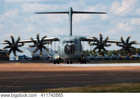 Fairford, United Kingdom - July 12, 2018: Airbus A400m Atlas Ec-400 Transport Plane Display For Riat