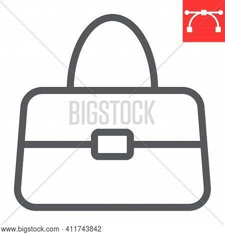 Handbag Line Icon, Accessory And Glamour, Women Bag Vector Icon, Vector Graphics, Editable Stroke Ou