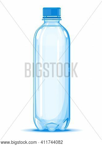 One Small Half Liter Plastic Water Bottle Of Drinking Water Quality Illustration On White Background