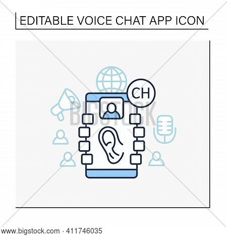 Listeners Line Icon. Listening Lecture. Hearing Voice Messages. Abstract Communication Room With Fri