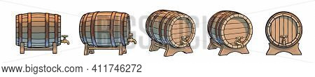 Set Of Wooden Barrels With Taps On Stands In Different Positions. Vector Illustrations Isolated On W