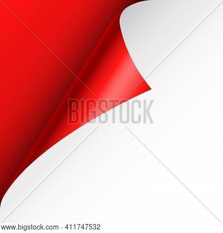 Red Paper Curl. Curled Page Corner With Shadow. Blank Sheet Of Paper. Colorful Shiny Foil. Design El