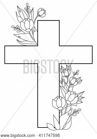 Easter, Christ Is Risen. Postcard - Big Cross, Entwined With A Bouquet Of Flowers, Buds And Leaves W