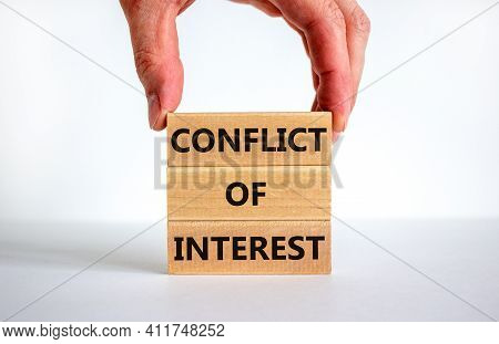 Conflict Of Interest Symbol. Wooden Blocks With Words 'conflict Of Interest'. Beautiful White Backgr