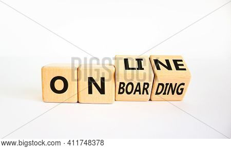 Online Onboarding Symbol. Turned Wooden Cubes With Words 'online Onboarding'. Beautiful White Backgr