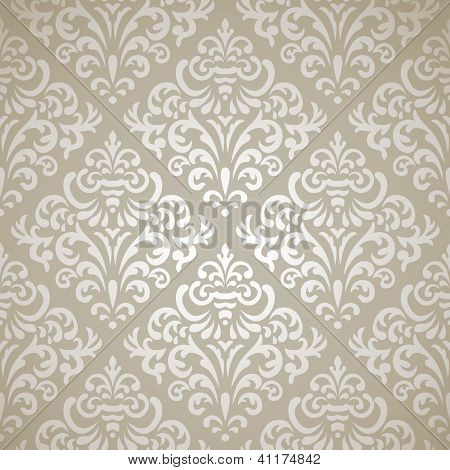 Damask vintage seamless pattern on gray gradient background