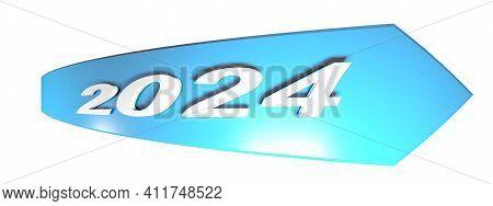 2024 Blue Arrow On White Background - 3d Rendering Illustration