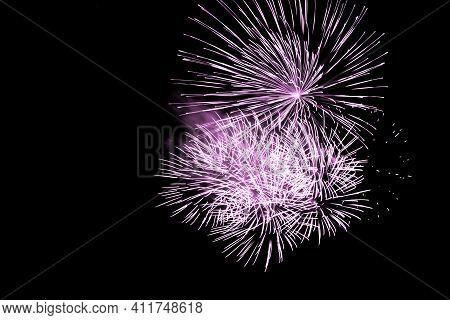 Luxury Fireworks Event Sky Show With Pink Big Bang Stars. Premium Entertainment Magic Star Firework