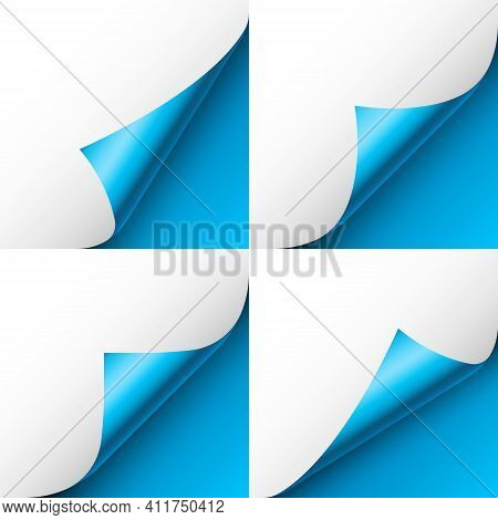 Set Of Blue Paper Curls. Curled Page Corner With Shadow. Blank Sheet Of Paper. Colorful Shiny Foil.