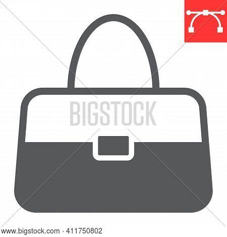 Handbag Glyph Icon, Accessory And Glamour, Women Bag Vector Icon, Vector Graphics, Editable Stroke S