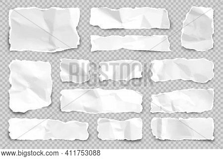 Ripped Paper Strips On Transparent Background. Realistic Crumpled Paper Scraps With Torn Edges. Shre