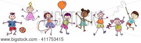 Diversity Group Of Happy Sweet Kids In Action Playing And Jumping. Kindergarten. Preschool. Funny Ac