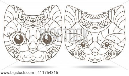 Set Of Contour Illustrations Of Stained Glass Windows With Portraits Of Kittens, Dark Contours Isola