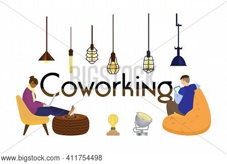 Coworking Horizontal Concept Banner With People Working At Laptop And Tablet. Loft Lamps.  Flat Vect