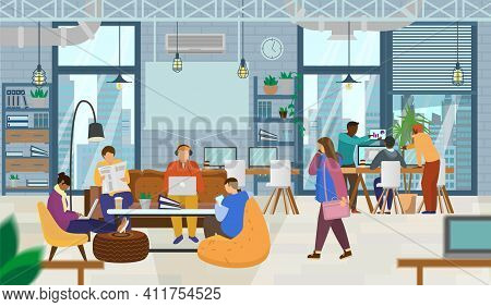 Young Creative People Working In Coworking Office. Open Space, Loft, Coworking Space Interior With M
