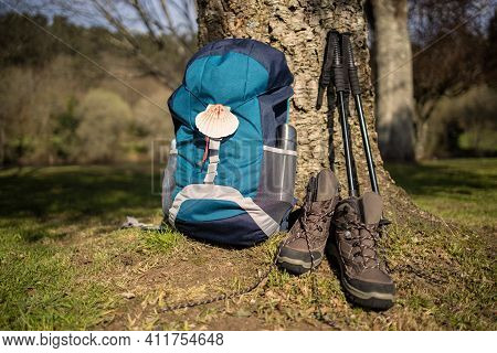 Backpack With Seashell Symbol Of Camino De Santiago, Trekking Boots And Poles Leaning On A Tree. Pil