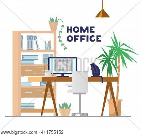 Working Place With Table, Computer, Cupboard, Plants, Chair And Cat. Home Office Concept. Flat Vecto