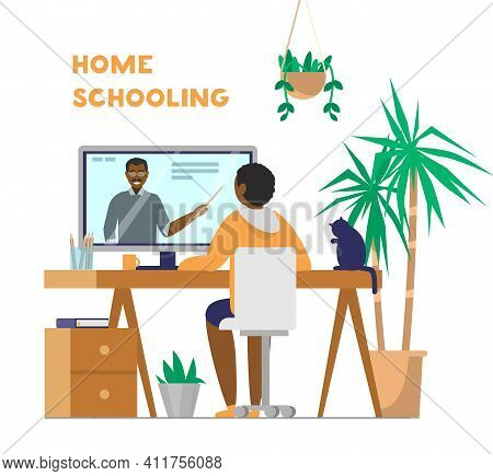 Afro-american Kid Sits At Table And Looks At Teacher On Screen. Home Schooling Or Online Learning Co