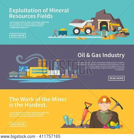 Miner Work Flat Horizontal Banner Set With Exploitation Of Mineral Resources Fields Oil And Gas Indu