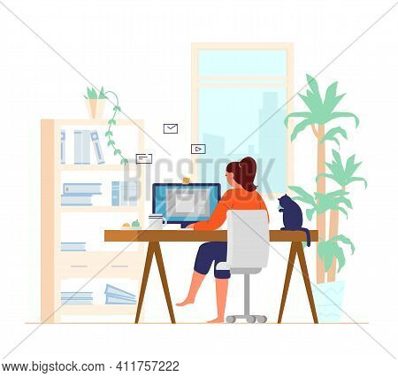 Woman Working At Computer From Home Back View Leg Crossed. Home Office Interior. Freelancer At Work.