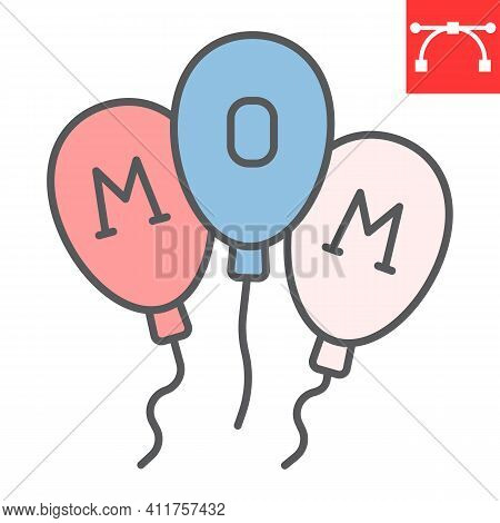 Happy Mothers Day Balloons Color Line Icon, Party And Celebration, Mothers Day Ballon Vector Icon, V