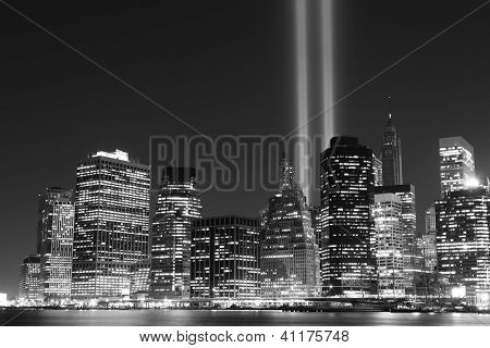Manhattan skyline and the Towers of Lights at Night, New York City