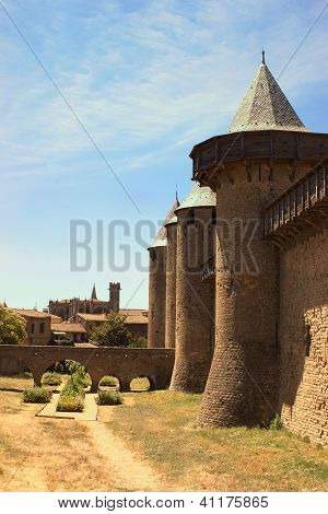 The Inner City Of Carcassonne, France And The Basilica Of Saint-nazaire.