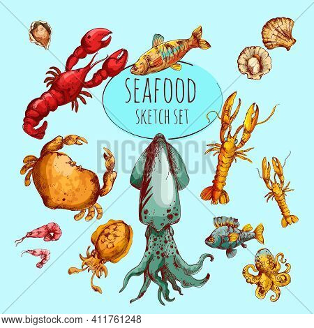 Seafood Fresh Gourmet Delicacy Sketch Colored Decorative Icons Set Isolated Vector Illustration