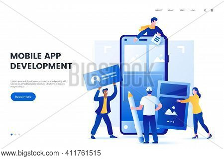 Mobile Application Development Vector Illustration. Group Of People Create A Mobile App For Smartpho