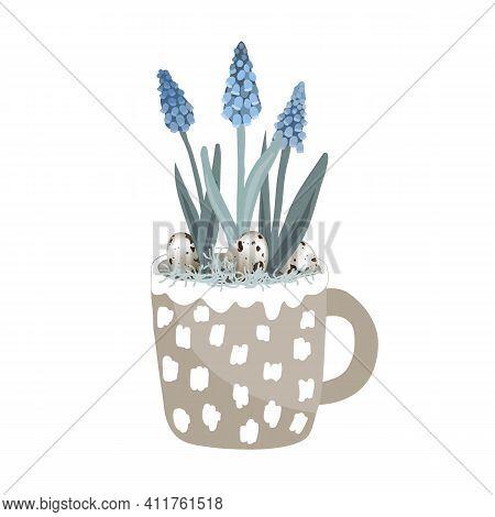 Cute Mug With Blue Grape Hyacinth, Quail Eggs, And Moss. Hello Spring Card Vector Illustration, East