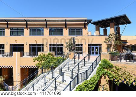 IRVINE, CALIFORNIA - 16 APRIL 2020: Student Center and Visitor Center Building on the campus of the University of California Irvine, UCI.