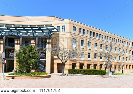IRVINE, CALIFORNIA - 16 APRIL 2020: The Humanities Instructional Building on the campus of the  University of California Irvine, UCI.