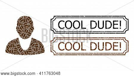 Collage Client Constructed From Coffee Seeds, And Grunge Cool Dude Exclamation Rectangle Stamps With