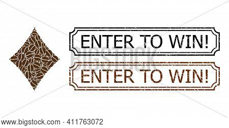Collage Diamonds Suit Composed Of Coffee Seeds, And Grunge Enter To Win Exclamation Rectangle Seals