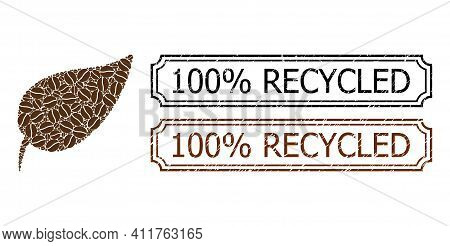 Mosaic Herbal Leaf United From Cacao Grain, And Grunge 100 Percents Recycled Rectangle Badges With N