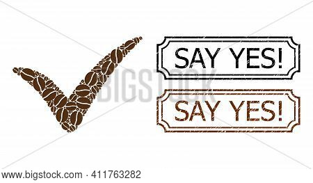 Mosaic Yes United From Coffee Beans, And Grunge Say Yes Exclamation Rectangle Seals With Notches. Ve
