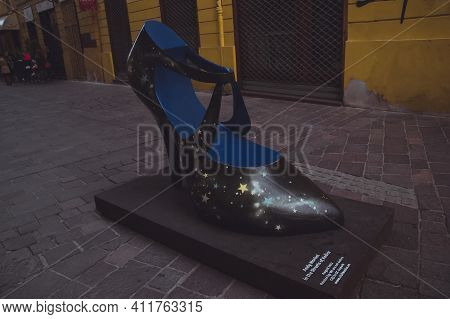 Kosice, Slovakia - September, 2016: Shoe Styled By Andy Warhol In The Street Of Kosice. High-heel Sh