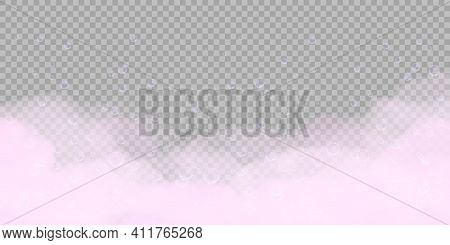 Pink Bath Foam With Bubbles Isolated On Transparent Background. Realistic Soap Lather Texture. Vecto