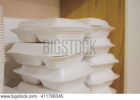 Take Away Food In Foil Boxes In Chinese Restaurant Kitchen Food Ready For Home Delivery.