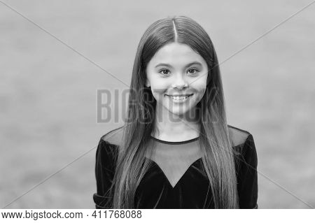Be Great Every Day. Happy Child Smile Green Grass. Beauty Look Of Cute Girl Child. Hair Salon. Fashi