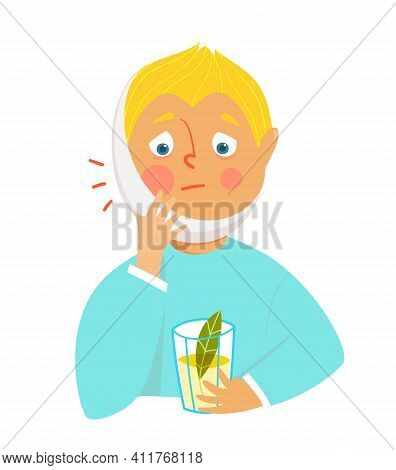 Crying Sad Kid With Toothache And Bandage On Face, Holding A Glass With Herbal Medicine. Unhappy Chi
